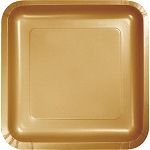 Glittering Gold SQUARE 9IN PLATE PAPER