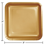 Glittering Gold SQUARE 7IN PLATE PAPER