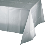 SHIMMERING SILVER SQUARE LPLASTIC TABLE COVER