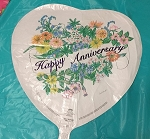 HAPPY ANNIVERSARY HEART WITH FLOWERS MYLAR