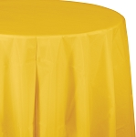SCHOOL BUS YELLOW PLASTIC ROUND TABLE COVER