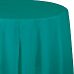 TROPICAL TEAL ROUND PLASTIC TABLE COVER