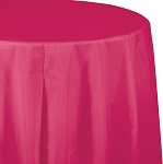 HOT MEGENTA ROUND PLASTIC TABLE COVER