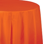 SUNKISSED ORANGE ROUND PLASTIC TABLE COVER