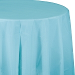 PASTEL BLUE ROUND PLASTIC TABLE COVER