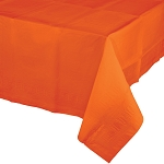 SUNKISSED ORANGE LINED PLASTIC TABLE COVER