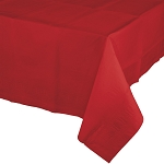 CLASSIC RED SQUARE LINED PLASTIC TABLECOVER