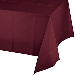 BURGANDY  PLASTIC TABLE COVER