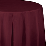 BURGANDY ROUND PLASTIC TABLE COVER